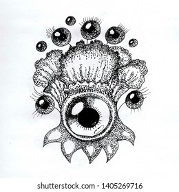 BELTANE 6 Cute Flower Black and White Ink Pen Hand Drawn Monster with Eyes and Tentacles