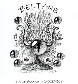 BELTANE 8 Cute Flower Black and White Ink Pen Hand Drawn Monster With Octopus Tentacles Fire Horns Water Drops and Beltane Lettering