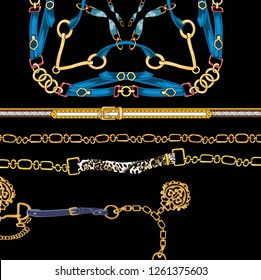 Belts design, gold chains, fashion accessories