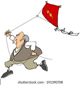 Ben Franklin flying a kite