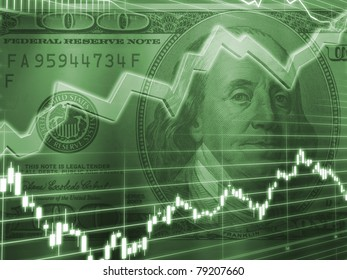 Ben Franklin with Green Stock Market Graph