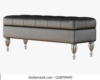 Bench capitone black 3d rendering