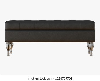 Bench capitone black front view  3d rendering