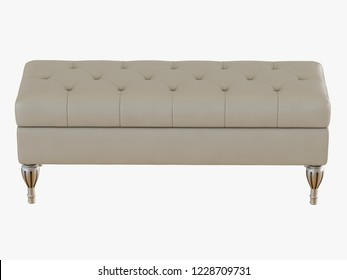 Bench capitone ivory color 3d rendering