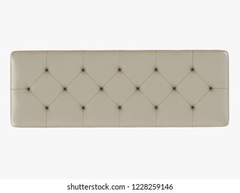 Bench capitone ivory color view top 3d rendering