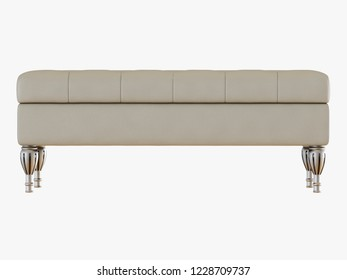 Bench capitone ivory color view front 3d rendering