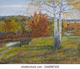 Bench under the birch by the river Istra, Russian landscape, original oil painting