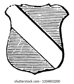 Bend Ordinary are generally occupies a fifth part of the shield, vintage line drawing or engraving illustration.