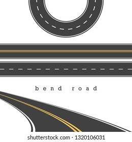 Bend Road, Straight and Curved Roads Set, Road Junction. Illustration. White and Yellow Road Marking. Highway, Expressway. Abrupt Turn. Double Solid Yellow Line, Broken White Line.