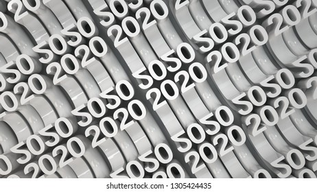 Bended 2020 3D numbers. Grid of white New 2020 Year figures. Celebration background. 3D rendering illustration