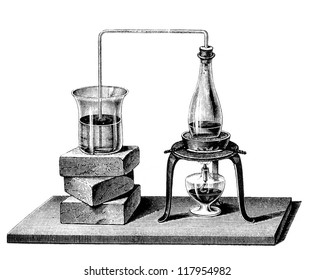 """The bended  pipe canalizes vapor from the boiling water in the closed flask to the glass, causing the water inside to boil. Engraving from """"Schule der Chemie"""" by Dr. Stoeckhardt,Vieweg und Sohn-1857"""
