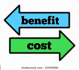 Benefit and cost signs in blue and green arrows concept
