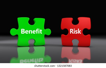 Benefit and risk sign on puzzle pieces business and project management concept 3D illustration.