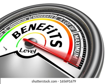 benefits conceptual meter indicate maximum, isolated on white background