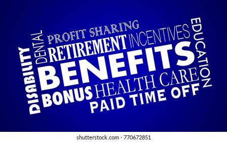 Benefits Employee Health Care Insurance Retirement 3d Illustration
