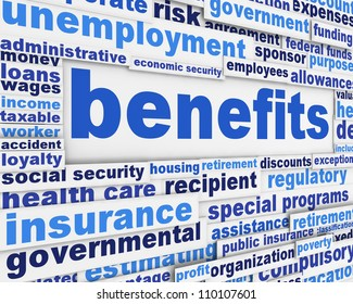 Benefits slogan poster concept. Financial support message design