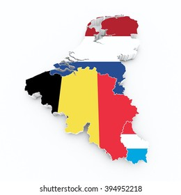 benelux state flags on 3d maps
