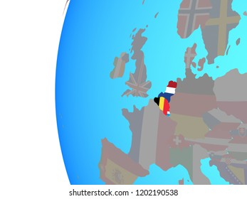 Benelux Union with embedded national flags on blue political globe. 3D illustration.