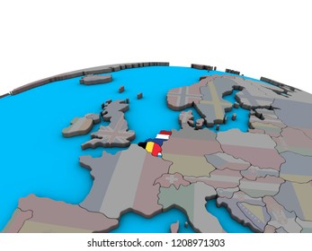 Benelux Union with embedded national flags on political 3D globe. 3D illustration.