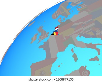 Benelux Union with embedded national flags on globe. 3D illustration.