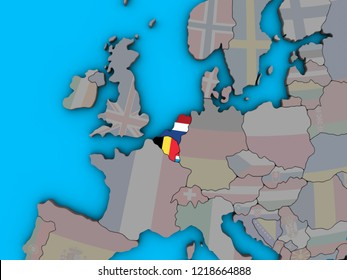 Benelux Union with embedded national flags on blue political 3D globe.
