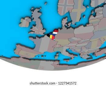 Benelux Union with embedded national flags on simple political 3D globe. 3D illustration.
