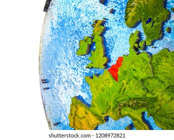 Benelux Union highlighted on 3D Earth with visible countries and watery oceans. 3D illustration.