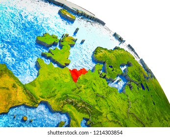 Benelux Union Highlighted on 3D Earth model with water and visible country borders. 3D illustration.