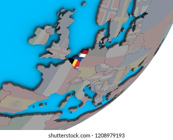 Benelux Union with national flags on blue political 3D globe. 3D illustration.