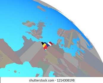 Benelux Union with national flags on simple blue political globe. 3D illustration.