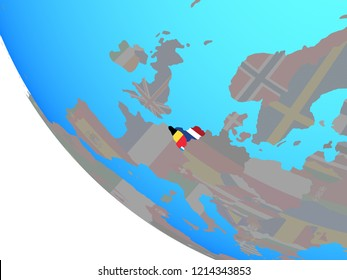 Benelux Union with national flags on simple globe. 3D illustration.