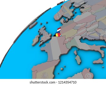 Benelux Union with national flags on 3D globe. 3D illustration.