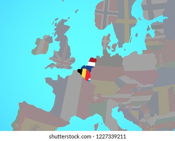 Benelux Union with national flags on blue political globe. 3D illustration.
