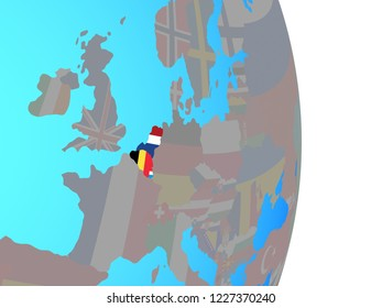 Benelux Union with national flags on simple political globe. 3D illustration.
