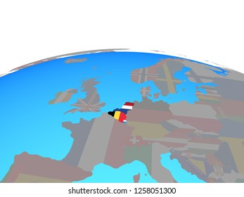 Benelux Union with national flags on political globe. 3D illustration.
