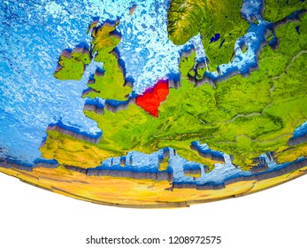 Benelux Union on 3D Earth with divided countries and watery oceans. 3D illustration.