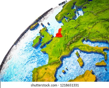 Benelux Union on 3D Earth model with visible country borders. 3D illustration.