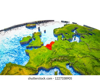 Benelux Union on 3D Earth with visible countries and blue oceans with waves. 3D illustration.