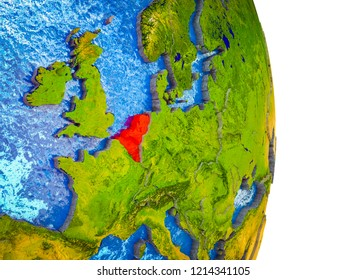 Benelux Union on 3D model of Earth with divided countries and blue oceans. 3D illustration.