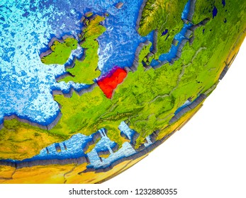 Benelux Union on 3D model of Earth with water and divided countries. 3D illustration.