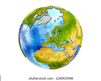 Benelux Union on 3D model of Earth with country borders and water in oceans. 3D illustration isolated on white background.