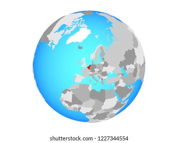 Benelux Union on blue political globe. 3D illustration isolated on white background.