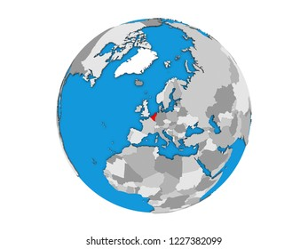 Benelux Union on blue political 3D globe. 3D illustration isolated on white background.