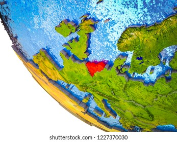 Benelux Union on model of Earth with country borders and blue oceans with waves. 3D illustration.