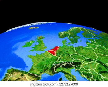 Benelux Union on model of planet Earth with country borders and very detailed planet surface. 3D illustration. Elements of this image furnished by NASA.