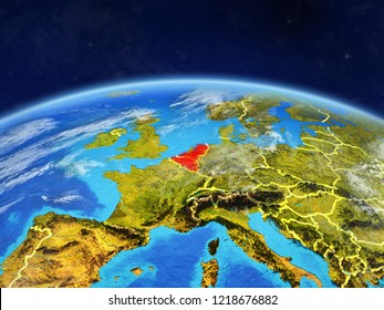 Benelux Union on planet Earth with country borders and highly detailed planet surface and clouds. 3D illustration. Elements of this image furnished by NASA.