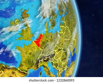 Benelux Union on planet planet Earth with country borders. Extremely detailed planet surface and clouds. 3D illustration. Elements of this image furnished by NASA.