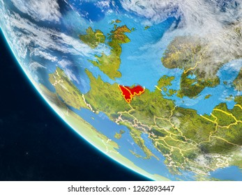 Benelux Union on planet Earth from space with country borders. Very fine detail of planet surface and clouds. 3D illustration. Elements of this image furnished by NASA.
