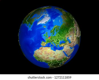 Benelux Union on planet planet Earth with country borders. Extremely detailed planet surface. 3D illustration. Elements of this image furnished by NASA.
