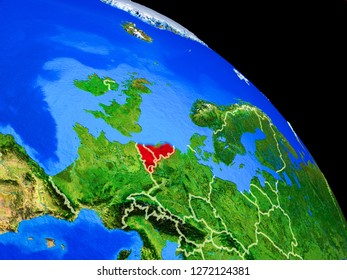 Benelux Union on planet Earth from space with country borders. Very fine detail of planet surface. 3D illustration. Elements of this image furnished by NASA.